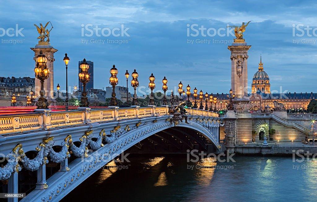 The Alexander III Bridge across river Seine in Paris, France.