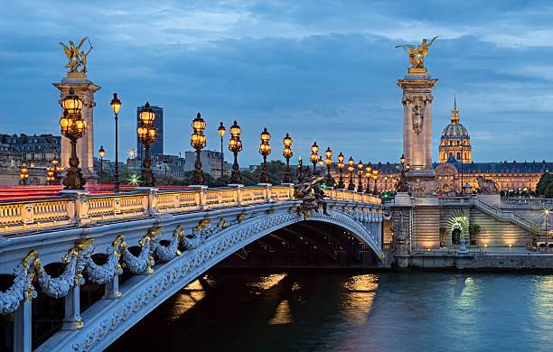 the most beautiful bridge of paris. - paris france stock photos and pictures