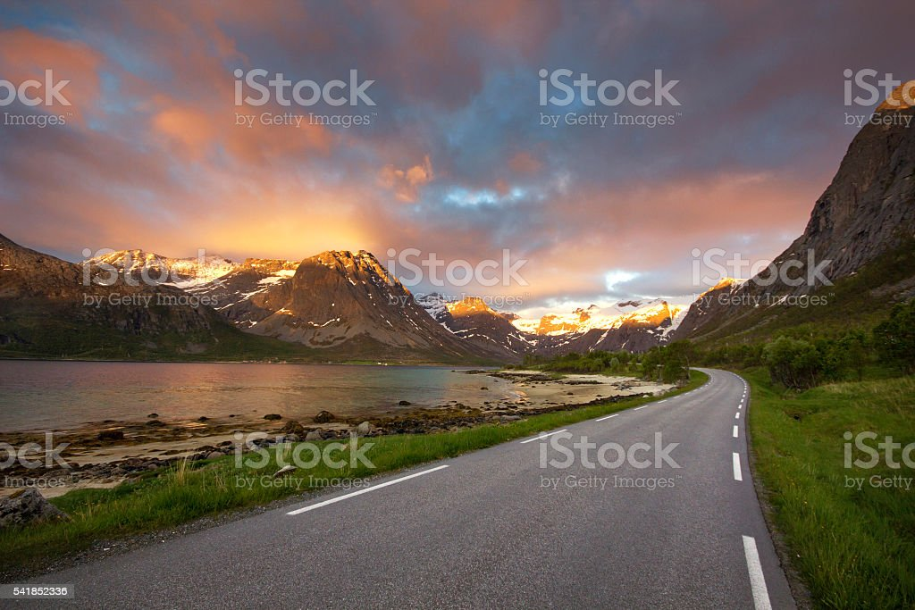 The most beautiful fjord road in northern Norway stock photo