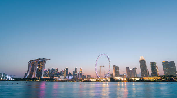 The most beautiful Viewpoint sunset in Singapore city. – zdjęcie