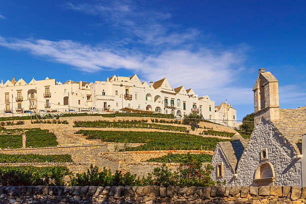 The most beautifull old towns in Italy: Locorotondo skyline, Apulia. stock photo