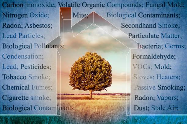 de meest voorkomende gevaarlijke binnenlandse verontreinigende stoffen die we kunnen vinden in onze huizen - concept afbeelding - radon test stockfoto's en -beelden