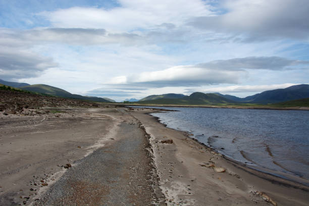 The most easterly point in the normally submerged road in Loch Glascarnoch stock photo