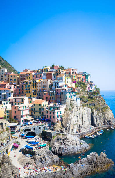 The most eye-catching of Cinque Terre towns stock photo