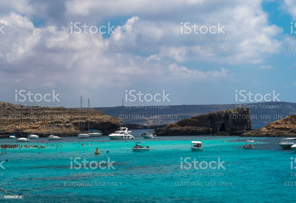 The most famous and crowded beach in Malta with crystal clear waters. stock photo