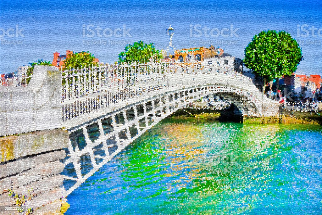 The most famous bridge in Dublin called 'Half penny bridge' due to the toll charged for the passage - crystallized effect applied stock photo