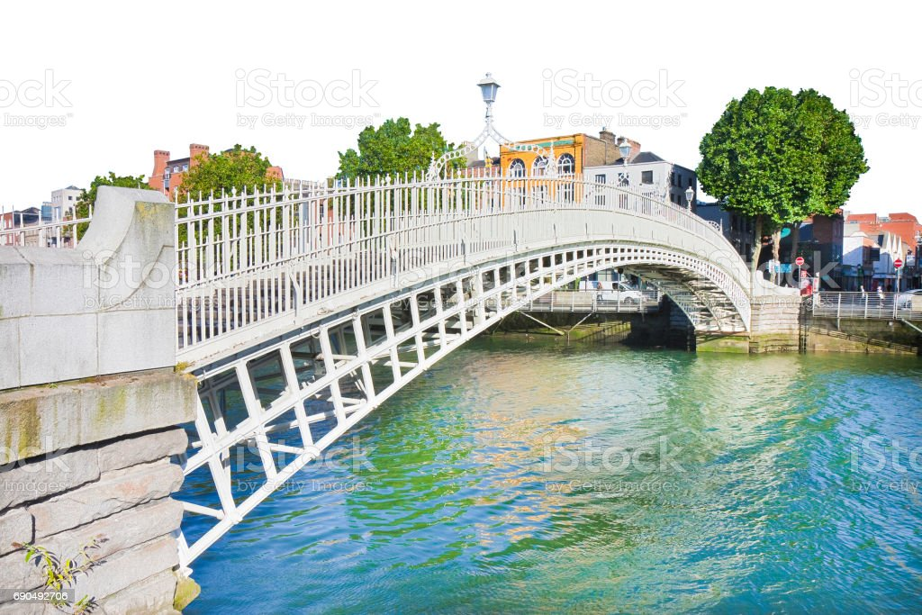 The most famous bridge in Dublin called 'Half penny bridge' on white background for easy selection stock photo