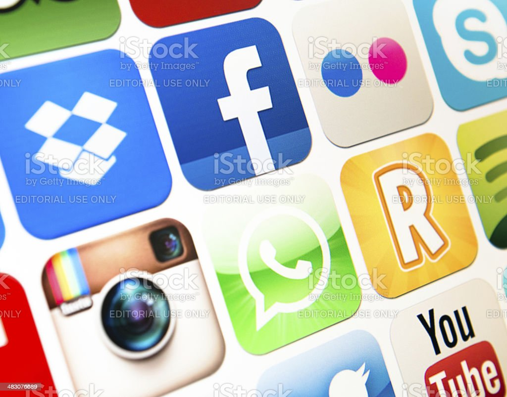 The most famous social media icon app on Itunes webstore stock photo