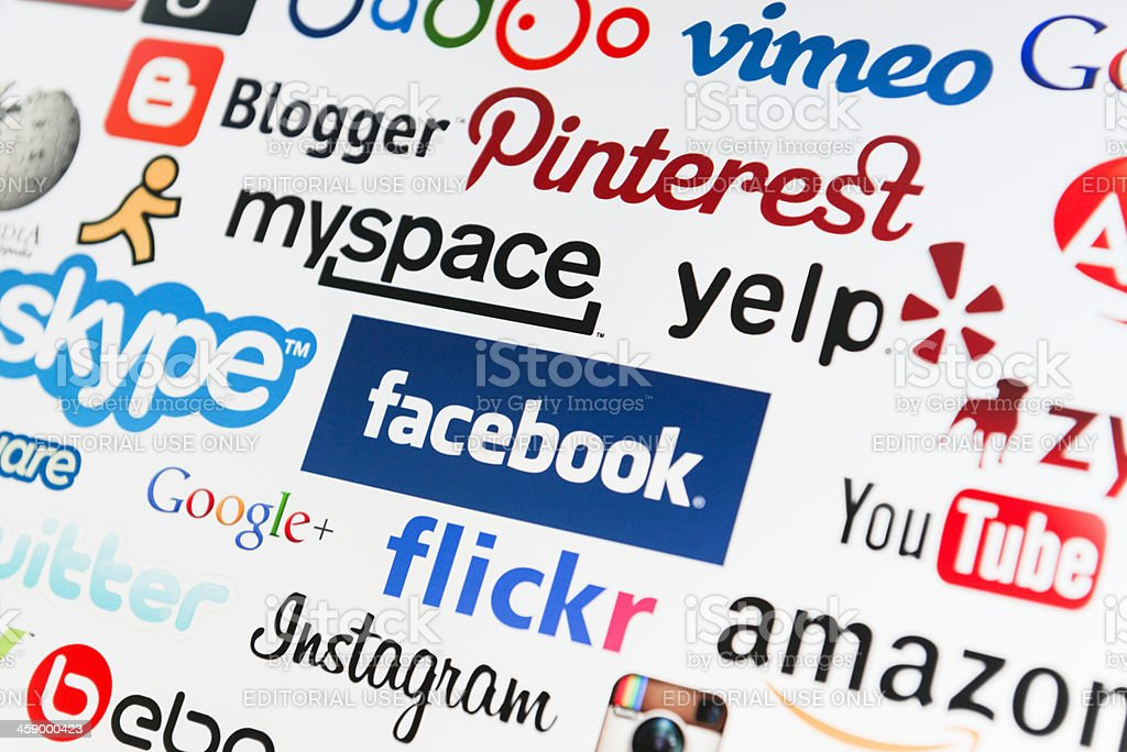 The most famous social media website on web stock photo