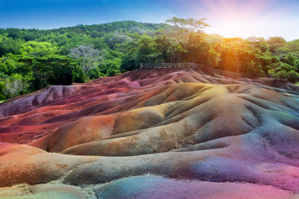 The most famous tourist place of Mauritius- Chamarel - earth of seven colors