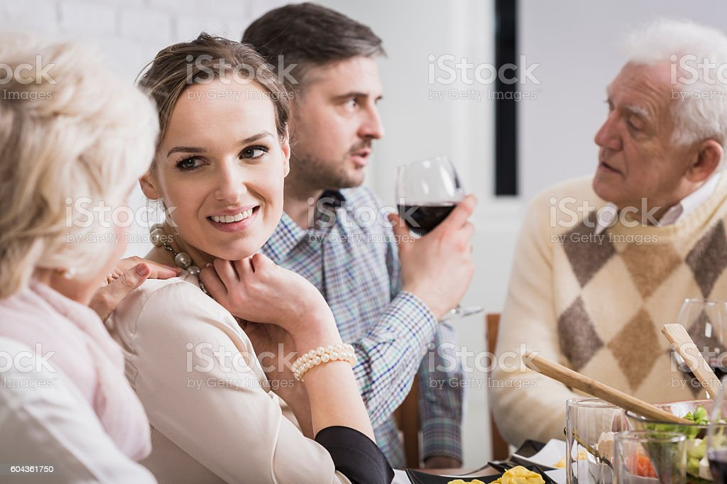 The most interesting discussions take place at the table stock photo