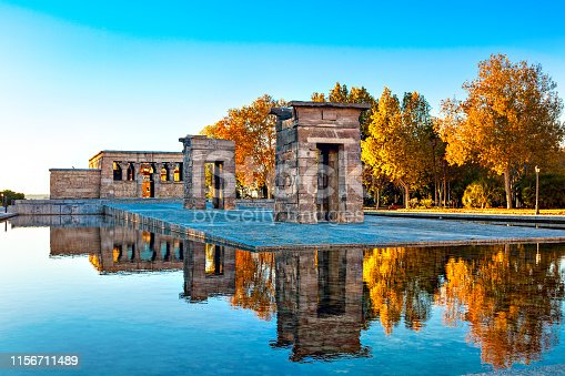 The most unusual attraction in Madrid - The   Temple of Debod. Parque del Oeste.