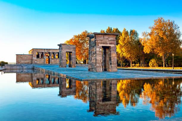 madrid en alışılmadık cazibe-debod tapınağı. - tapınak stok fotoğraflar ve resimler