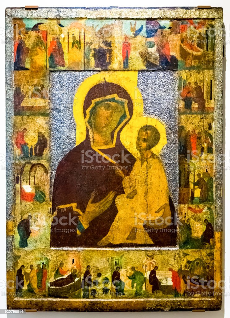 The Mother of God of Tikhvin with Scenes from Her Life, 15th century stock photo