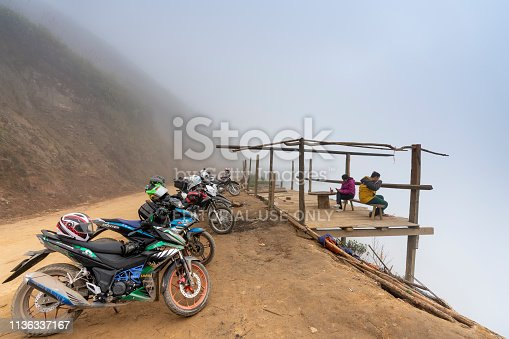 Ta Xua commune, Son La province, Vietnam - January 7, 2019: The motorcycles of enthusiasts discover the beauty of nature in Ta Xua commune, Son La province, Vietnam