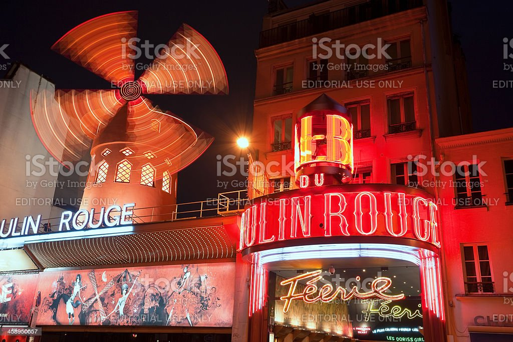Le Moulin Rouge Cabaret at Night, Paris, France royalty-free stock photo