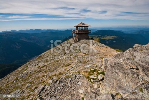 The Mount Fremont Fire Lookout is a rustic style building in the northern part of Mount Rainier National Park. It sits on top of a rocky outcrop at an elevation of 7317 feet above sea level. The building is maintained as a historic structure and is no longer used as a fire lookout. The lookout was placed on the National Register of Historic Places on March 13, 1991. Mount Fremont Lookout is located near Sunrise in Mount Rainier National Park, Washington State, USA.