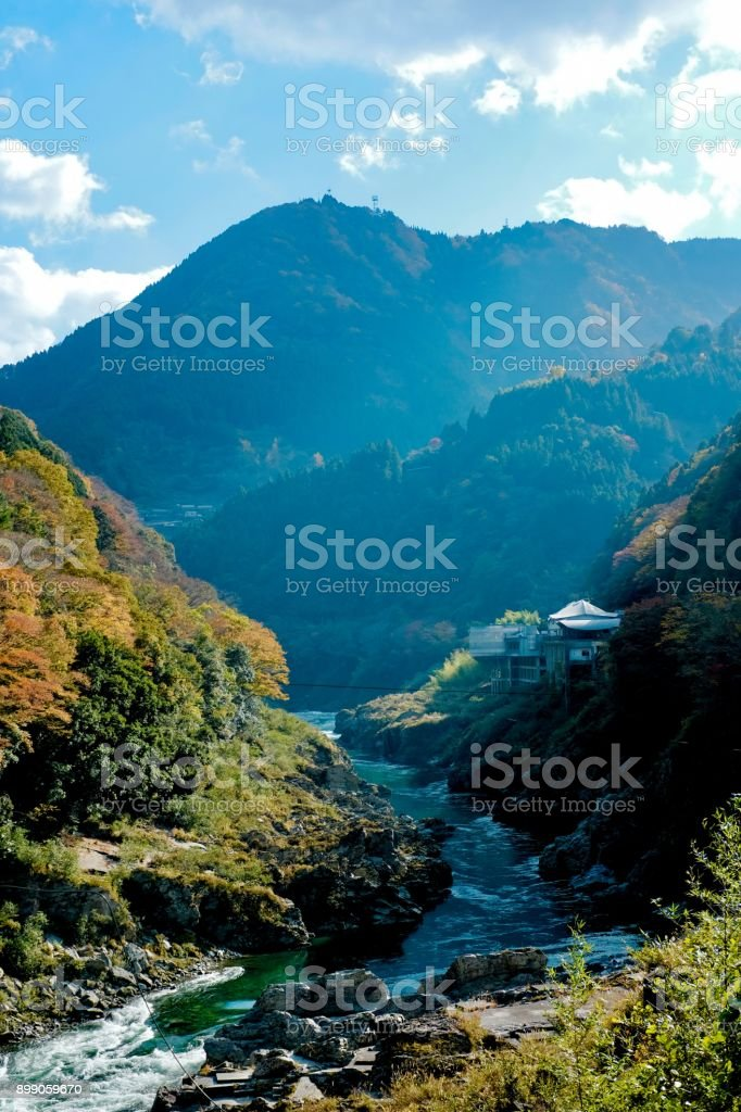 The mountain and river in Oboke gorge,Japan stock photo