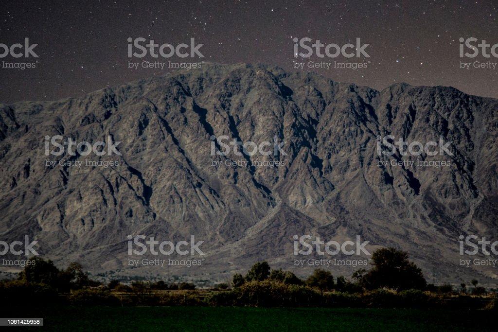 The Mountain and Stars ' El Centinela ' , Mexicali, Baja California, México. stock photo