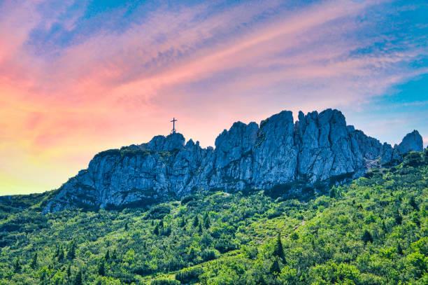 the mountain Kampenwand in Bavaria, Germany stock photo