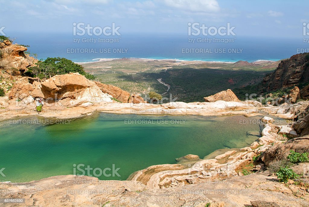 The mountain lake of Homhil on the island of Socotra stock photo
