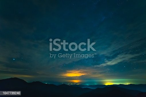 653506436 istock photo The mountain landscape on the starry sky background 1047735240