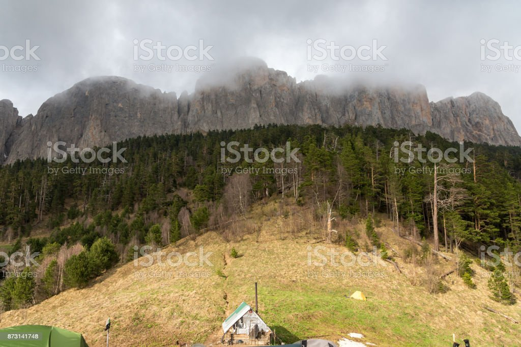 The mountain range of the Big Thach natural park. Adygea stock photo