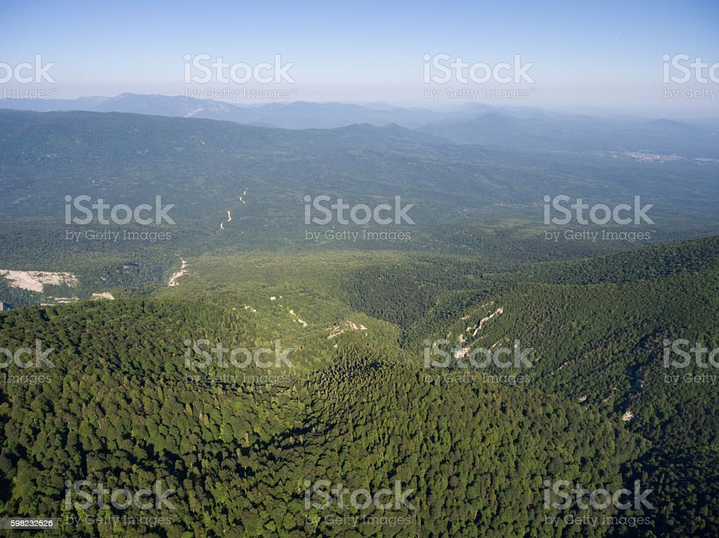 The mountain ridge covered  forest. Mountain landscape. foto royalty-free