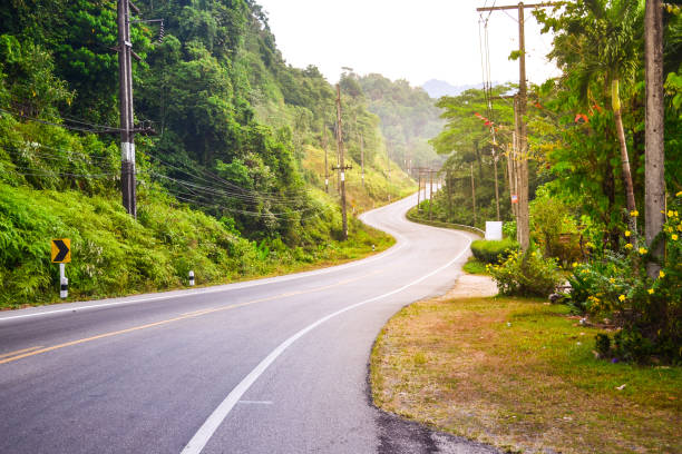 The mountain road view in the south of Thailand, curve road stock photo