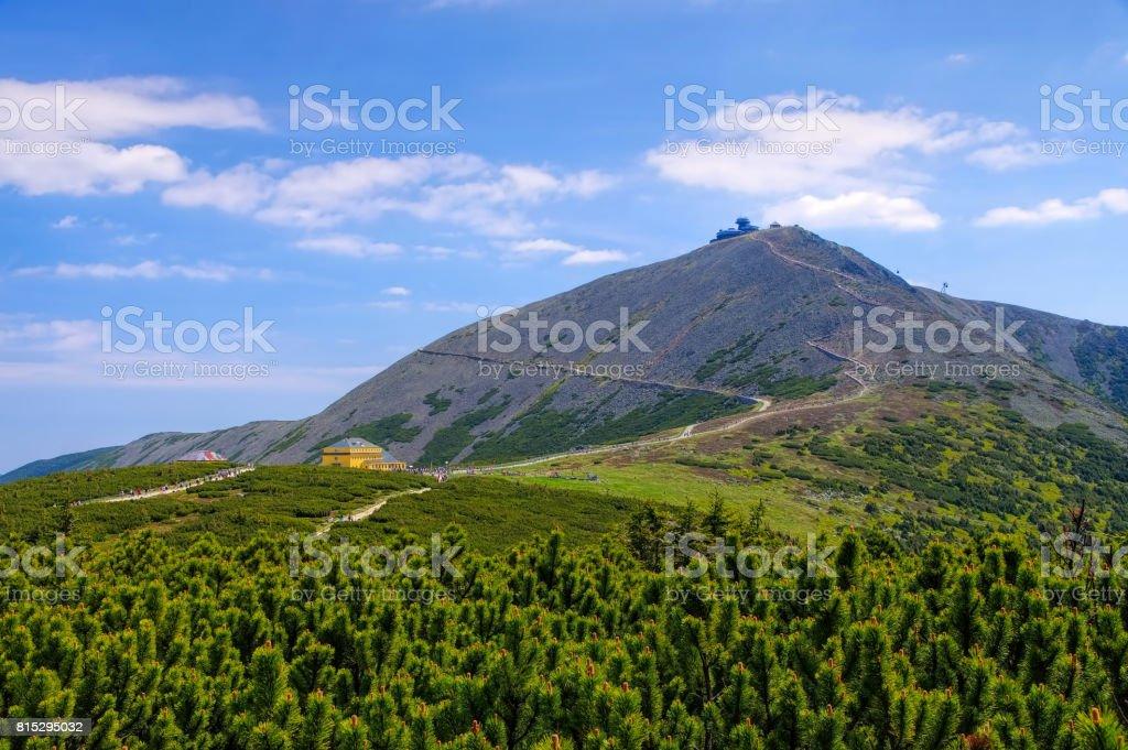 the mountain Sniezka in Giant  Mountains stock photo