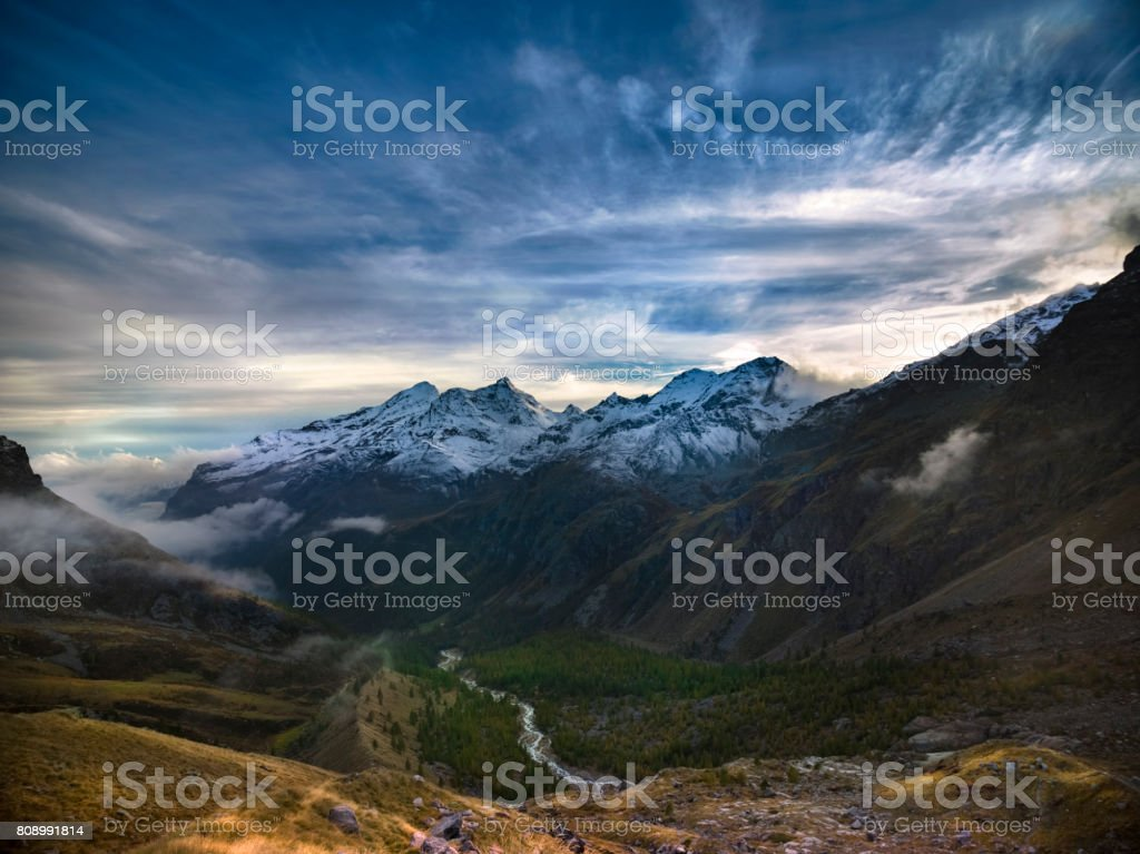 The mountain valley of Italy stock photo