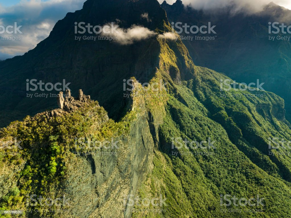 The mountain valley of Reunion Island stock photo