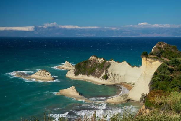 The mountainous coast of the Greek island of Corfu on the Ionian sea stock photo