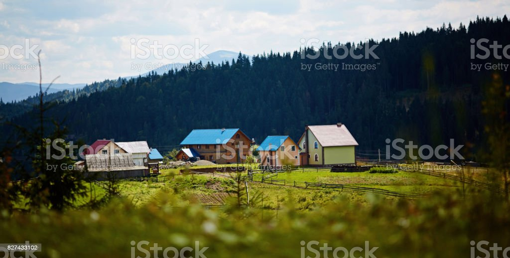 The mountainous landscape.Forest, lake,mountains in summer .Ukraine.Carpathians.Bukovel stock photo