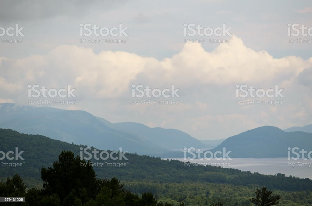 The mountains of Lake George stock photo
