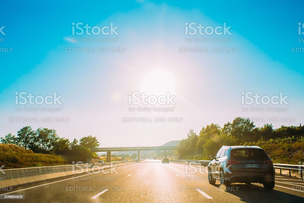 The movement of vehicles on freeway, motorway A8 near Trets stock photo