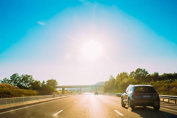 Cтоковое фото Движения транспортных средств на шоссе, вблизи автомагистрали A8 Trets