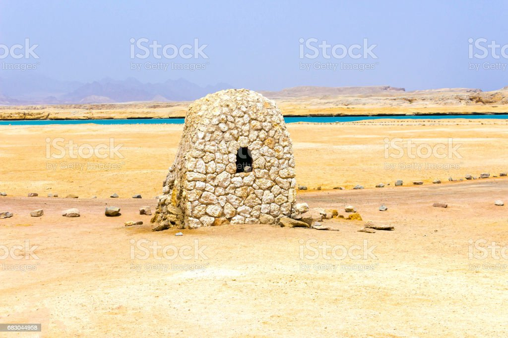 The mud brick house in Ras Muhammad National Park at Egypt royalty-free stock photo