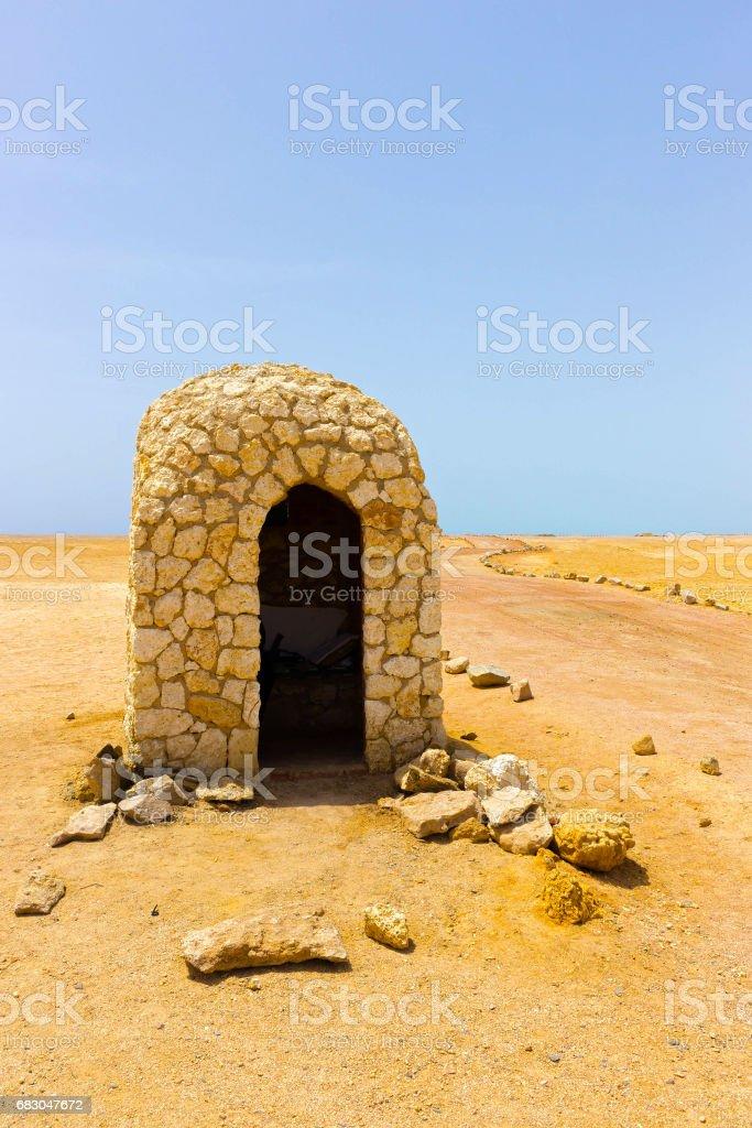 La casa de ladrillo de barro en el Parque Nacional Ras Muhammad en Egipto foto de stock libre de derechos