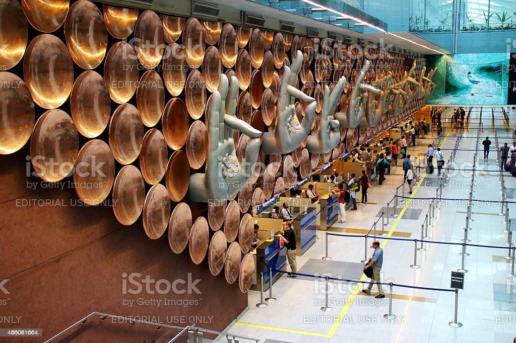 The mudra in Indira Gandhi International Airport. stock photo