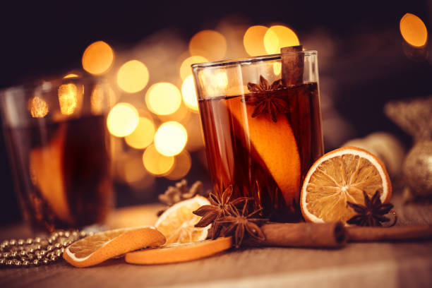 the mulled wine in night celebration of  new year party and delicious christmas drink for autumn and winter season - mulled wine stock photos and pictures