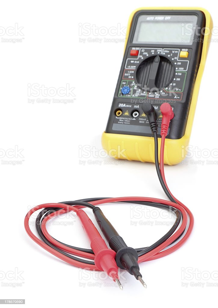The multimeter probes to measure. Close-up. royalty-free stock photo