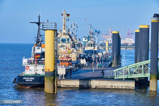 Bremerhaven, Germany, January 16., 2020: The multi-purpose ship Paulina, a converted former tugboat, in the outer harbour.