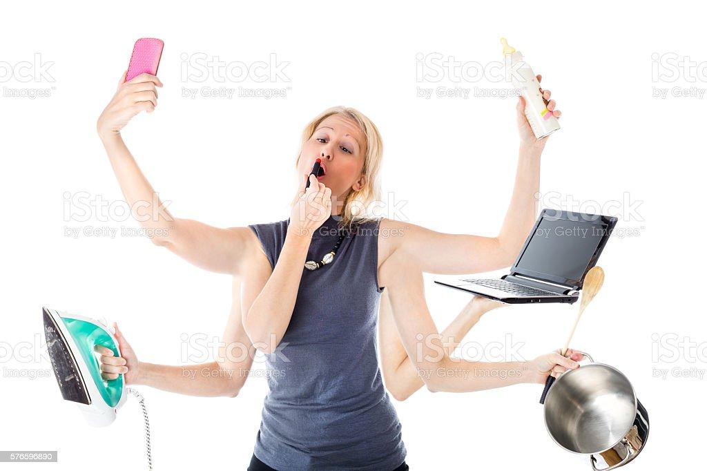 the Multitasking Woman stock photo