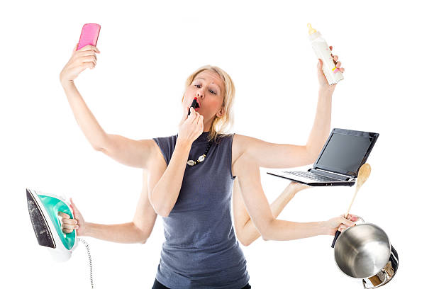 the Multitasking Woman Woman in a multitasking mode. Isolated, white background. Concept of modern woman who plays multiple roles at the same time: manager, housewife, mother, fashion female. multi tasking stock pictures, royalty-free photos & images