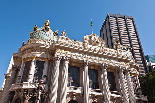 The Municipal Theatre in Downtown Rio de Janeiro, Brazil stock photo
