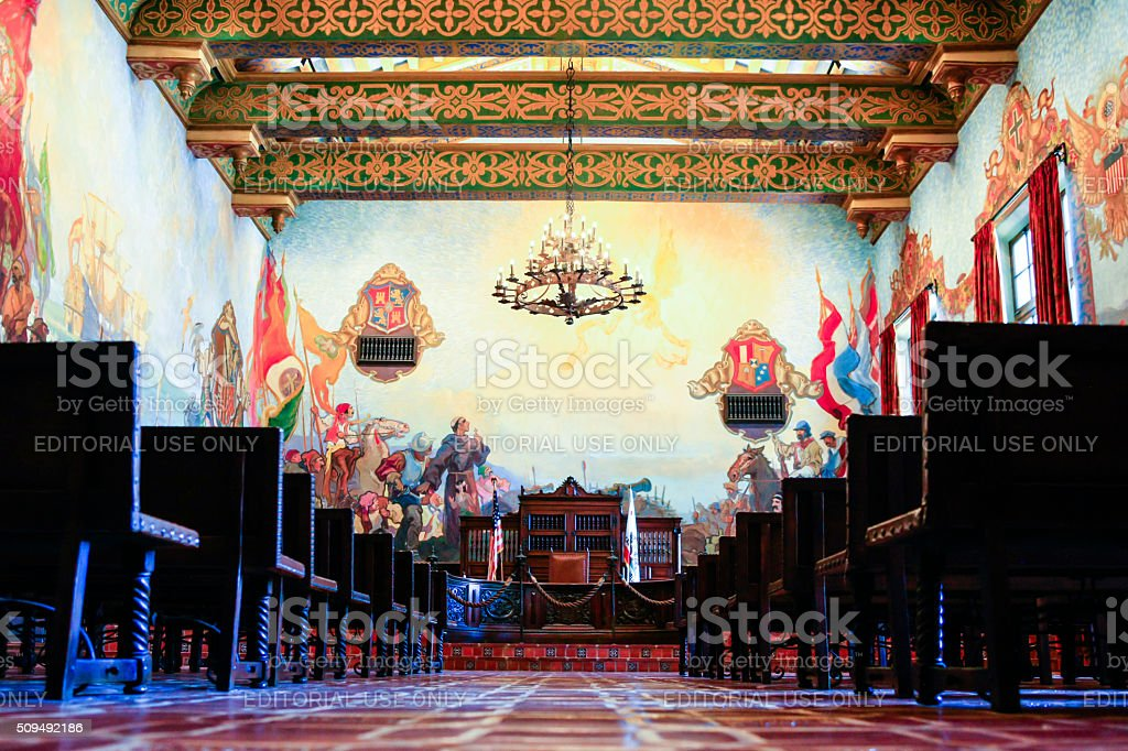 The Mural Room Inside The Santa Barbara Couty Courthouse Stock Photo