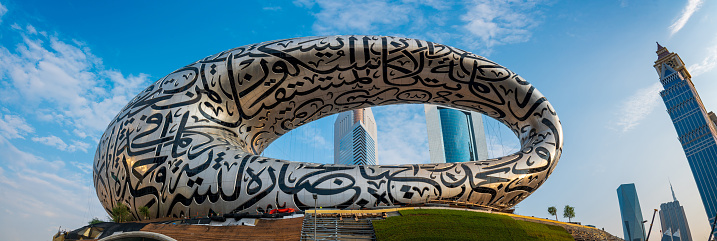 Dubai, United Arab Emirates - November 8, 2020: The Museum of The Future under construction in Dubai downtown built for EXPO 2020 scheduled to be held in the UAE