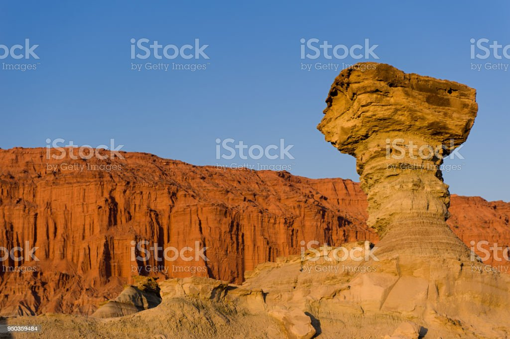The Mushroom, sandstone formation in Ischigualasto, San Juan, Argentina. Declared UNESCO world heritage site and a major touristic destination. stock photo
