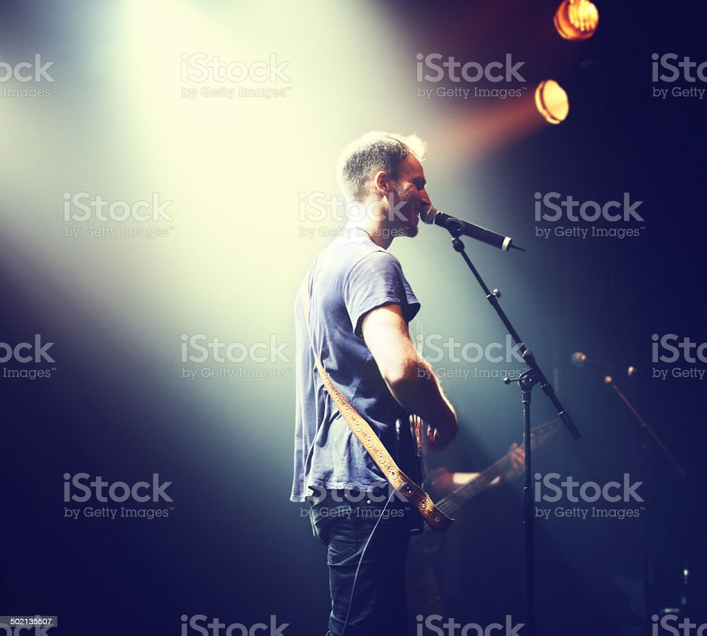 The music comes from his heart royalty-free stock photo